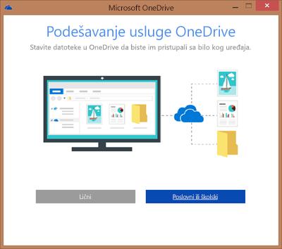 """Snimak ekrana dijaloga """"Podešavanje usluge OneDrive"""" prilikom podešavanja usluge OneDrive for Business za sinhronizaciju"""