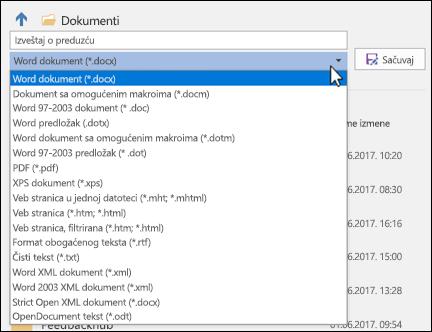 Kliknite na padajući meni sa tipovima datoteka da biste izabrali drugi format datoteke za dokument
