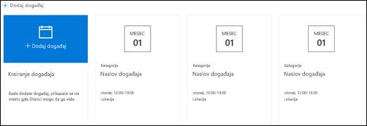 Veb segment za SharePoint događaje