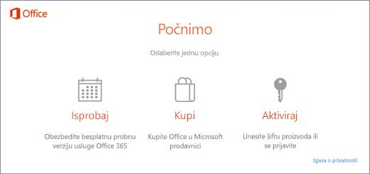 Snimak ekrana koji prikazuje podrazumevane opcije za probu, kupovinu ili aktivaciju za računar na kojem je Office unapred instaliran.