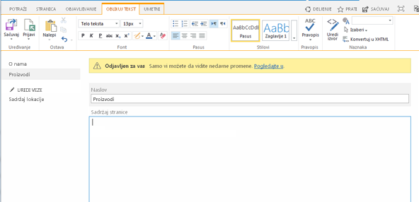 Snimak nove stranice za objavljivanje sa žutom trakom koja ukazuje na to da je stranica odjavljena