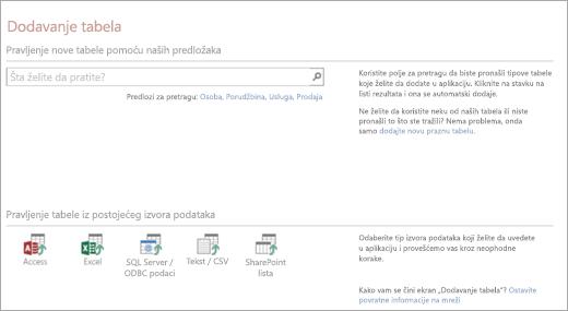 Dodavanje tabela u Access Veb aplikaciju