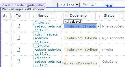 Prikazi liste u programu SharePoint Designer