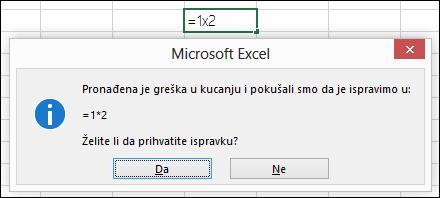 Okvir poruke koji vas pita da zamenite x sa * za množenje