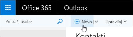 """Snimak ekrana kursora postavljenog iznad dugmeta """"Novo"""" na stranici """"Osobe""""."""
