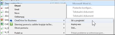 Prikazivanje datoteke u sinhronizovanoj fascikli biblioteke u veb pregledaču