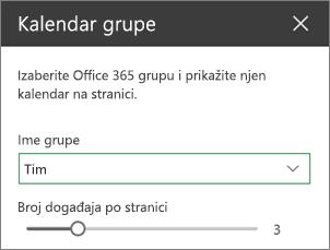 Okvir sa alatkama za grupisanje kalendara
