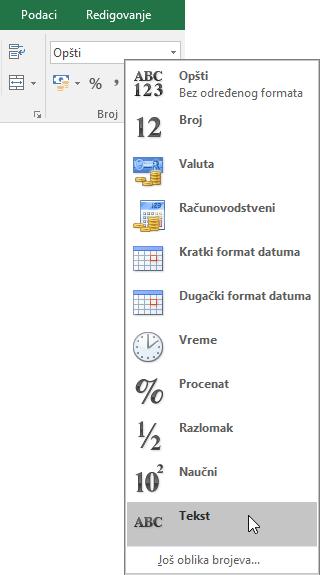 """U programu Excel, na kartici """"Početak"""", u grupi """"Broj"""" kliknite na strelicu nadole u polju """"Opšte"""" da biste odabrali oblik broja koji će se koristiti."""