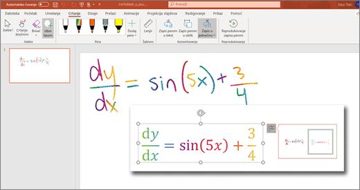 Zapis perom u matematički izraz