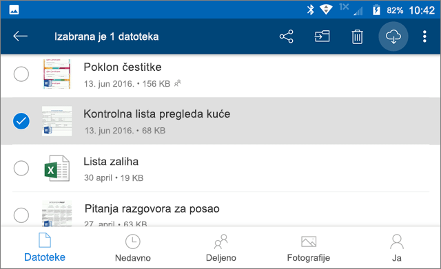 Označite OneDrive datoteke za van mreže