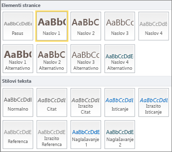 """Snimak ekrana stavke """"Dostupni su elementi stranice i stilovi teksta"""" iz grupe """"Stilovi"""" na SharePoint Online traci."""