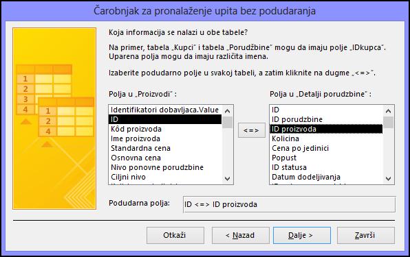 """Izaberite podudarna polja iz tabela u dijalogu """"Čarobnjak za pronalaženje upita bez podudaranja"""""""
