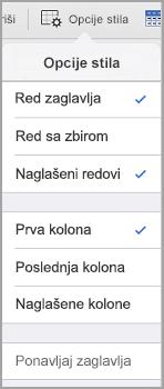 iPad Opcije stila tabele