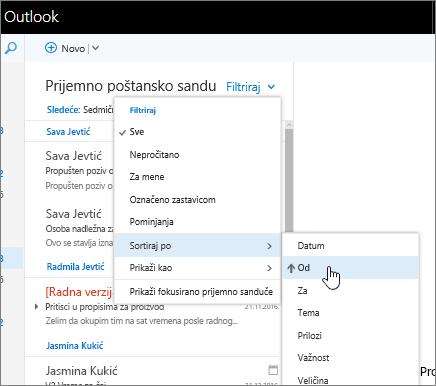 """Snimak ekrana prijemnog sandučeta sa izabranim stavkama """"Filter"""" > """"Sortiraj po"""" > """"Od""""."""