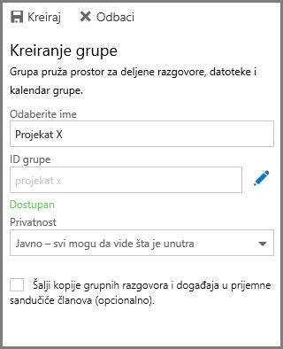 """Snimak ekrana kucanja imena i izbora stavke """"Napravi"""" za pravljnje grupe iz usluge OneDrive for Business"""
