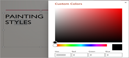 Show's custom color window