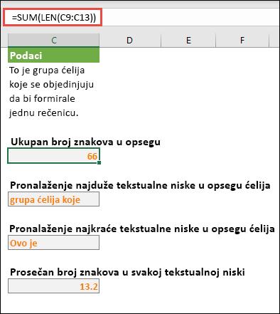 Prebrojavanje ukupnog broja znakova u opsegu i drugih niza za rad sa tekstualnim niski