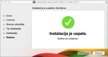 Snimak ekrana prozora u kom piše da je instalacija uspela
