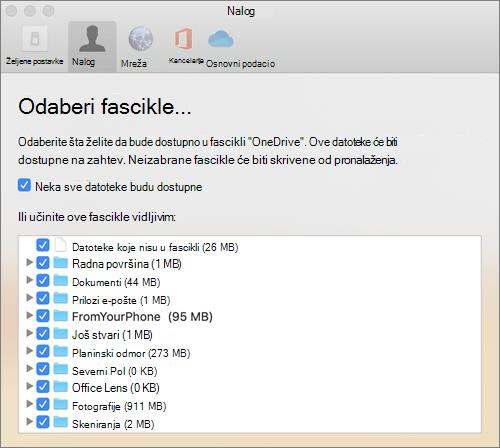 """Dijalog """"izbor fascikli"""" u oknu """"OneDrive for Mac""""."""