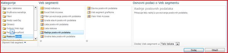 Birač veb segmenata prikazuje Excel Web Access veb segment