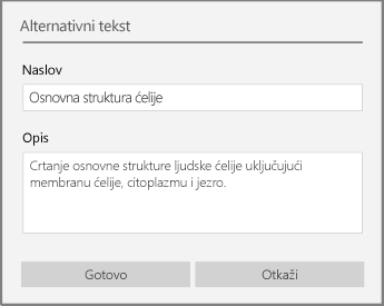 "Dijalog ""alternativni tekst"" za dodavanje alternativnog teksta u programu OneNote za Windows 10."