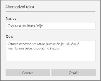 """Dijalog """"alternativni tekst"""" za dodavanje alternativnog teksta u programu OneNote za Windows 10."""