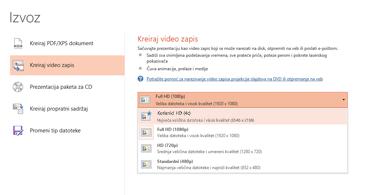 """Snimak ekrana dijaloga """"Izvoz"""" koji prikazuje opcije koje su dostupne prilikom kreiranja video zapisa na osnovu prezentacije"""