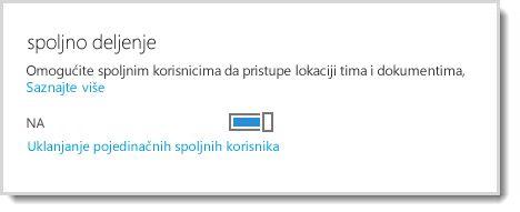 Slika koja prikazuje kontrolu uključivanja ili isključivanja za dozvoljavanje spoljnim korisnicima da pristupe lokaciji tima i dokumentima.