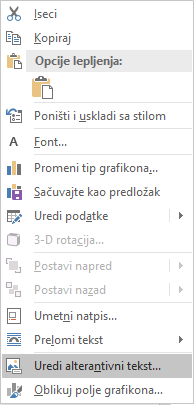 Meni Word Win32 uređujete alternativni tekst za grafikone