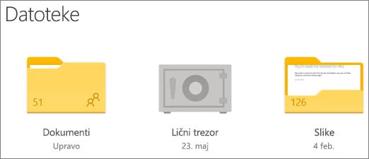 """Snimak ekrana fascikle """"Lični trezor"""" u usluzi OneDrive"""