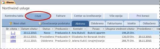 """Kartica """"Citati"""" predloška Services baze podataka"""