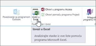 SharePoint Izvezi u Excel dugme na traci istaknuto