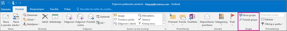 Opcije grupe na glavnoj traci programa Outlook