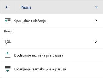 """Komanda """"Pasus"""" sa opcijama za oblikovanje"""