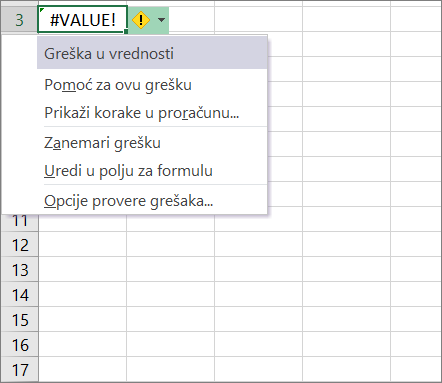 Padajuće liste koja se pojavljuje pored ikone praćenje vrednost