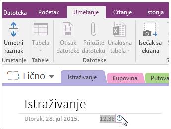 Snimak ekrana promene vremenske oznake na stranici u programu OneNote 2016.