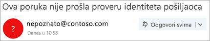 Snimak ekrana znak pitanja na slici pošiljaoca
