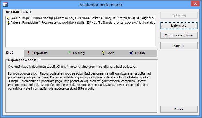 Analizator performansi prikazuje dijalog nakon pokretanja na Access bazi podataka.