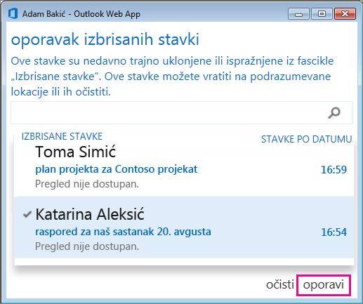 """Dijalog """"Oporavak izbrisanih stavki"""" u programu Outlook Web App"""
