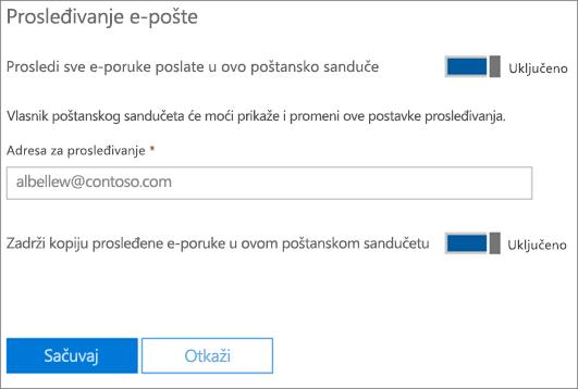 Snimak ekrana: Unesite prosleđivanje e-adresa