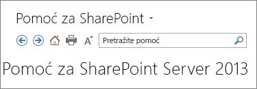 Zaglavlje okna za pomoć za SharePoint 2013