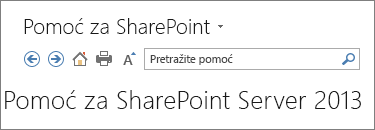 SharePoint 2013 okno za pomoć