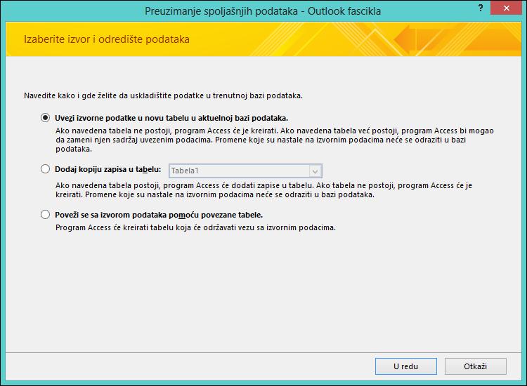 Izaberite da uvezete ili dodate Outlook fasciklu ili da umetnete vezu ka njoj.