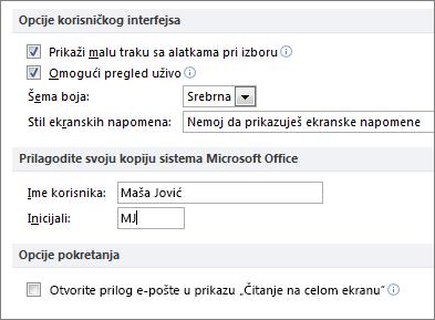 Word 2010 Opšte opcije tabli