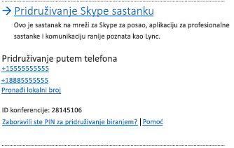 Korisnički interfejs Pridruživanje Skype sastanku