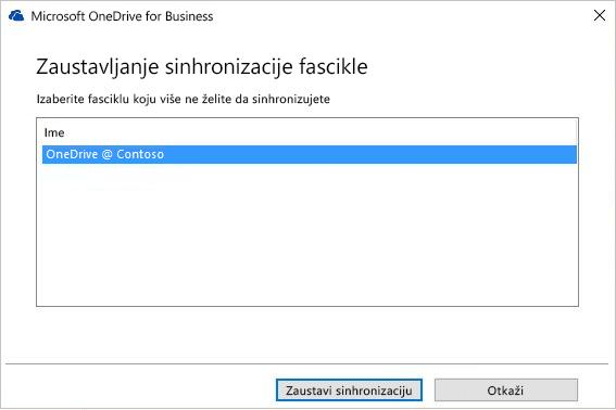 Snimak ekrana sa dijalogom za zaustavljanje sinhronizacije fascikle