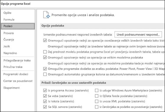 Opcije podataka prebačene iz datoteke > opcije > više opcija odeljka na novoj kartici koja se zove podataka u okviru datoteka > opcije.