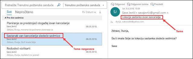 Outlook poruke su grupisane po temi razgovora na listi poruka.