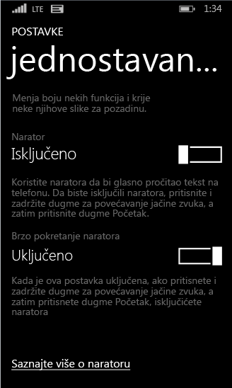 Windows phone – postavke naratora