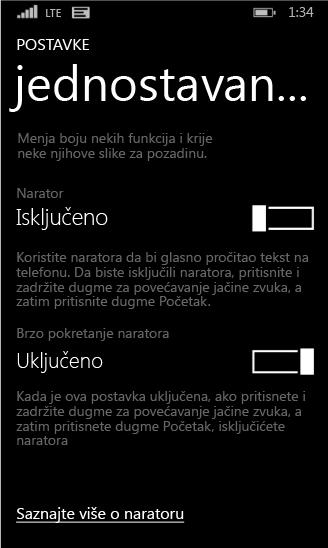 Windows phone – postavke naratora